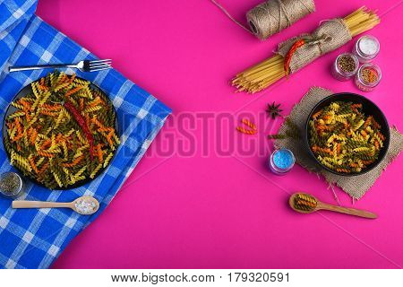 Colorful Dried Fusilli And Spaghetti Pasta