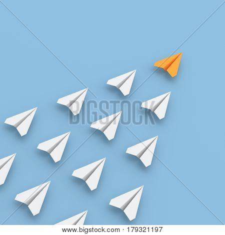 Leadership concept orange leader plane leading whites. 3D rendering