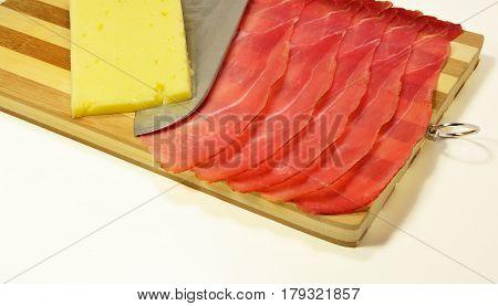 Italian speck smoked tasty ham pork salami prrosciutto