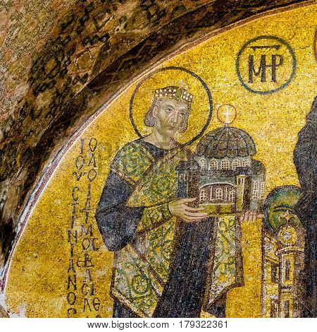 Emperor Justin handing over a model of the Hagia Sophia. Mosaic from 944 in Hagia Sophia Istanbul October 9 2013