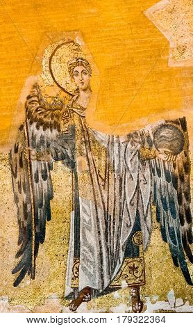 Byzantine mosaic of Archangel Gabriel in feathers Hagia Sophia Istanbul Turkey - October 9 2013