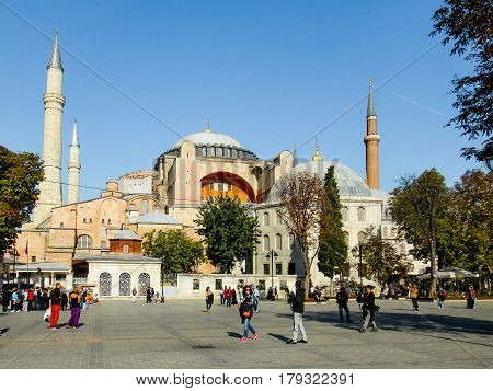 The squere in front of Hagia Sofia Istanbul. Some people are strolling around. Istanbul Turky - October 9 2013