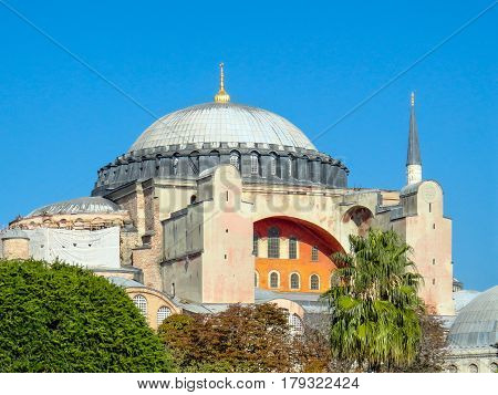 View of the famous Hagia Sofia. Formerly a christian church now a mosque and a museum in Istanbul Turkey October 9 2013