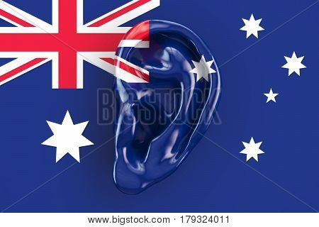 Australian intelligence concept ear on the flag of Australia. 3D rendering