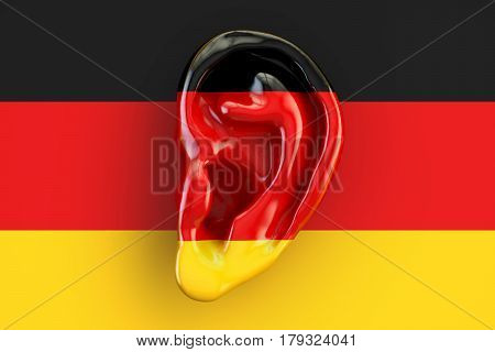 German intelligence concept ear on the flag of Germany. 3D rendering
