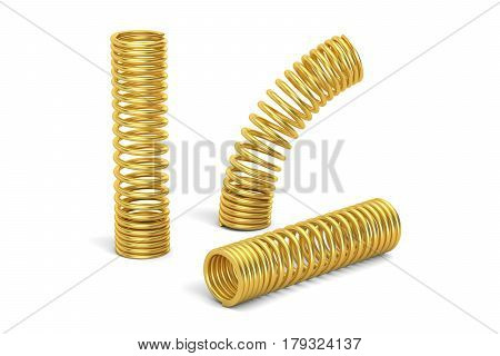 Set of golden helical coil springs 3D rendering isolated on white background