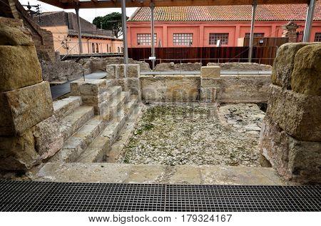 Preserved Roman baths in the thermal village of Caldes de Malavella, Catalunya, Spain