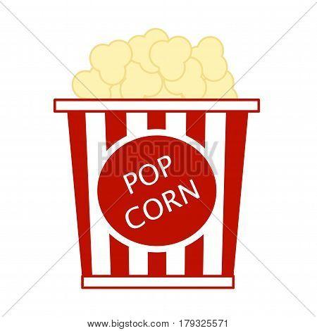 Pop corn box flat icon. Isolated on white background.