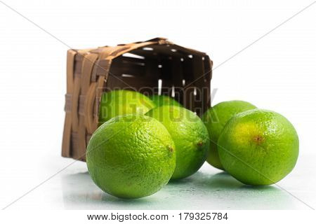 Tahiti Lemon Into A Basket.