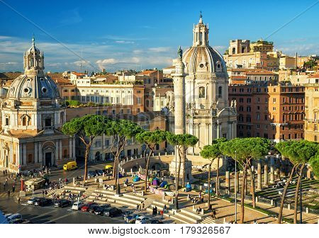 ROME, ITALY - OCTOBER 4, 2012: Forum of Trajan with its famous column. The Imperial Fora and the Roman Forum is one of the main attractions.