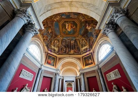 ROME, ITALY - OCTOBER 1, 2012: Hall in the Vatican museum.
