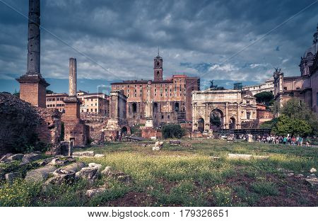 Roman Forum in Rome, Italy. The Roman Forum is an important monument of antiquity and is one of the main tourist attractions of Rome.