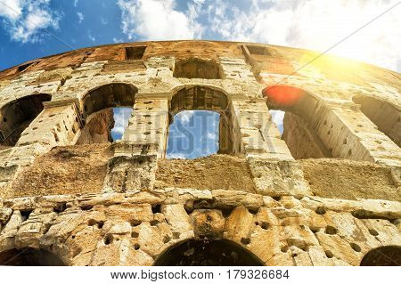 The Colosseum (Coliseum) in sunny day, Rome, Italy