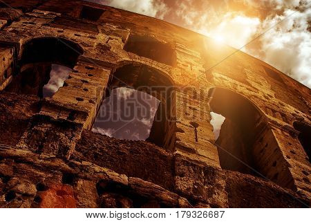 Low angle view of Colosseum (Coliseum) in Rome, Italy
