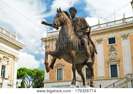 The equestrian statue of Marcus Aurelius in Capitoline Hill, Rome, Italy.