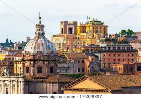 View of Rome near Trajan Forum and Piazza Venezia, Italy