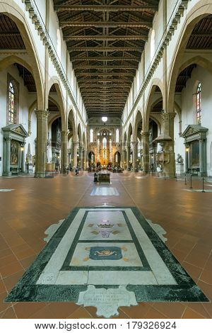 FLORENCE, ITALY - MAY 11, 2014: The interior of the Basilica of Santa Croce (Basilica of the Holy Cross) built in the 15th century. This is one of the main attractions of the Florence.