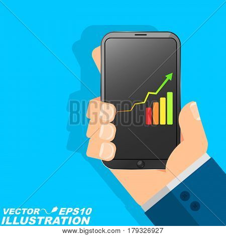 The man is holding the phone in his hand. A businessman and a successful person uses modern technology. Diagram with an arrow and a scale. Flat style
