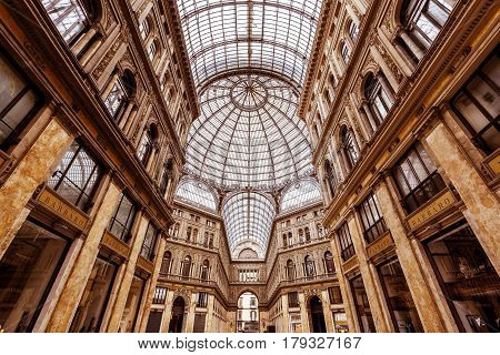 NAPLES, ITALY - MAY 13, 2014: Galleria Umberto I. This is a public shopping gallery.