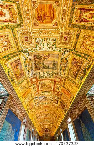 VATICAN - MAY 14, 2014: The ceiling in the Geographic gallery of the Vatican Museums.