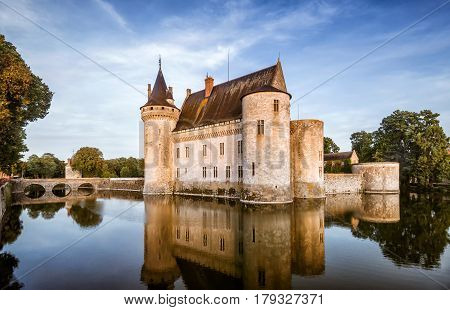 The chateau of Sully-sur-Loire, France. This castle is located in the Loire Valley, dates from the 14th century and is a prime example of medieval fortress.