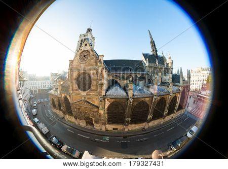 Old church taken fisheye lens in Paris, France