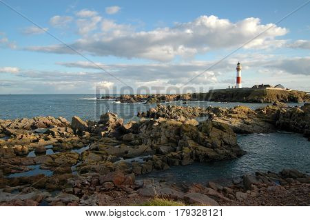 Buchan Ness Lighthouse, Boddam, Peterhead. Red and White.