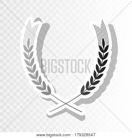 Wheat sign illustration. Spike. Spica. Vector. New year blackish icon on transparent background with transition.