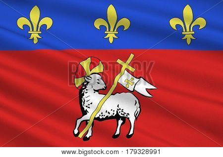 Flag of Rouen is a city on the River Seine in the north of France. It is the capital of the region of Normandy. 3d illustration