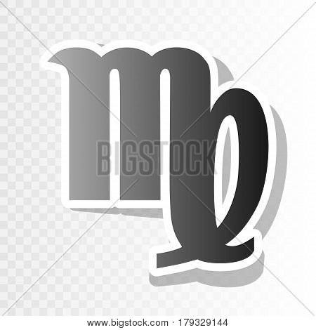 Virgo sign illustration. Vector. New year blackish icon on transparent background with transition.