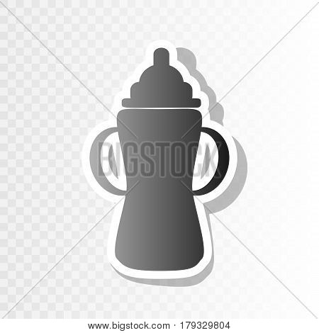 Baby bottle sign. Vector. New year blackish icon on transparent background with transition.