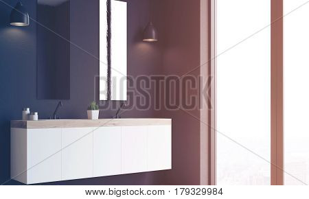 Double Sink, Black Wall, Side View, Toned