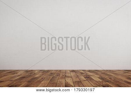 Empty Room White Wall, Brown Wood Floor