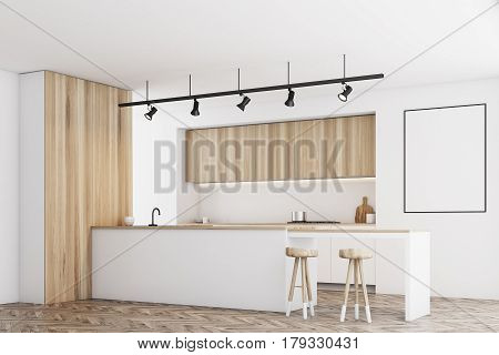 White Kitchen With Bar And Poster, Side