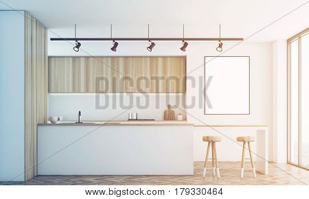 White Kitchen With Bar And Poster, Toned