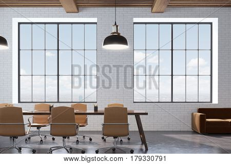 Conference Room With Wooden Table, Front