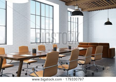 Conference Room With Wooden Table, Corner