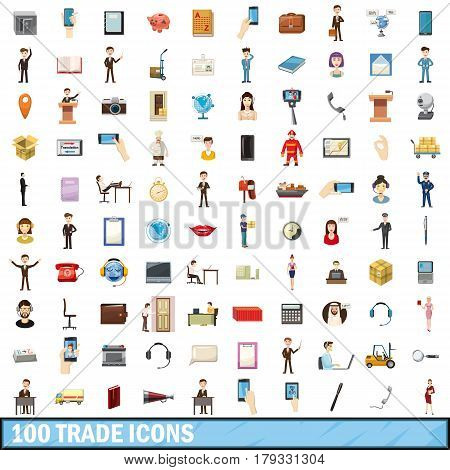 100 trade icons set in cartoon style for any design vector illustration