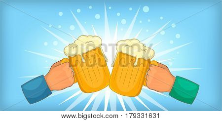 Beer cheers clink horizontal banner concept. Cartoon illustration of beer cheers clink vector horizontal banner for web