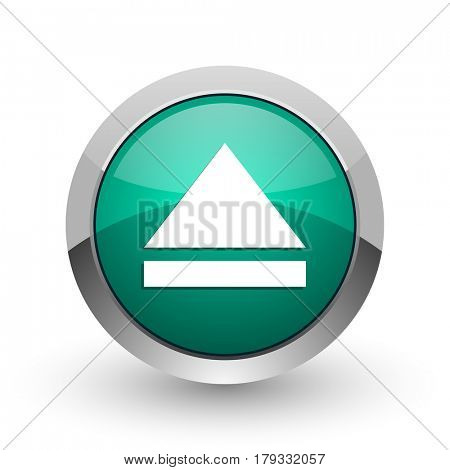 Eject silver metallic chrome web design green round internet icon with shadow on white background.