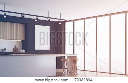 Black Kitchen With Bar And Poster, Corner, Toned