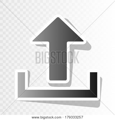 Upload sign illustration. Vector. New year blackish icon on transparent background with transition.