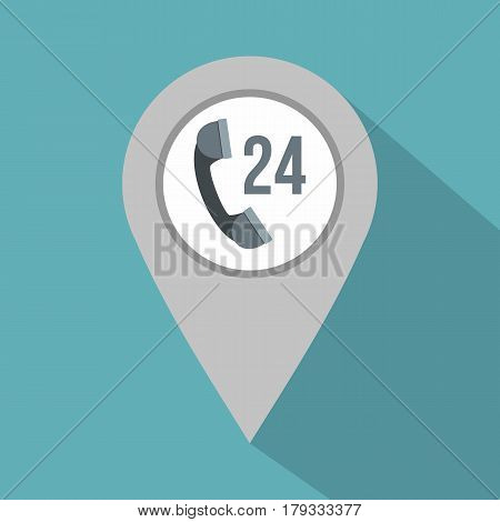Gray map pointer with phone handset sign icon. Flat illustration of gray map pointer with phone handset sign vector icon for web isolated on baby blue background