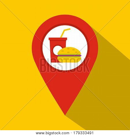Red map pointer with fast food and restaurant sign icon. Flat illustration of red map pointer with fast food and restaurant sign vector icon for web isolated on yellow background