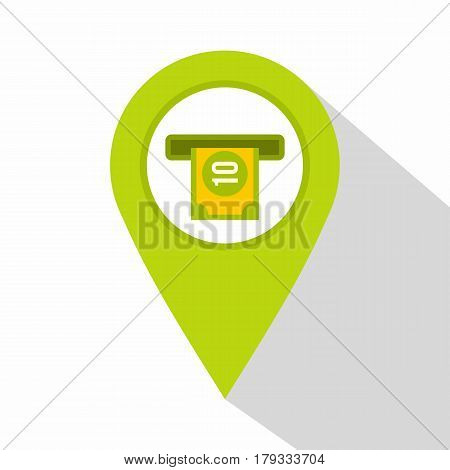 Green map pin pointer with ATM sign icon. Flat illustration of green map pin pointer with ATM sign vector icon for web isolated on white background