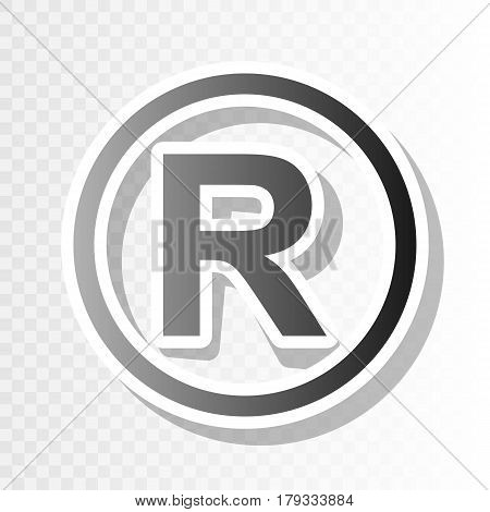 Registered Trademark sign. Vector. New year blackish icon on transparent background with transition.