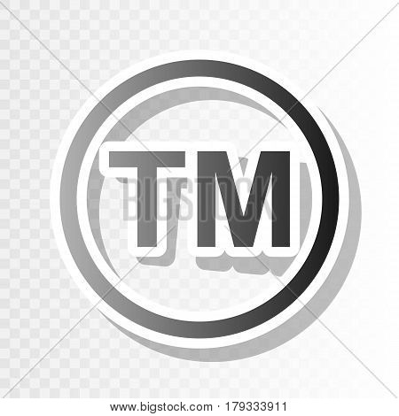 Trade mark sign. Vector. New year blackish icon on transparent background with transition.