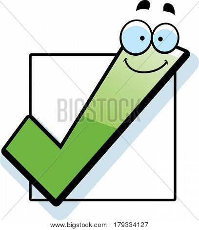 A cartoon illustration of a checkbox smiling.