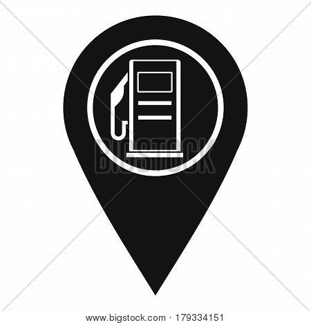 Map pointer with gas station symbol icon. Simple illustration of map pointer with gas station symbol vector icon for web