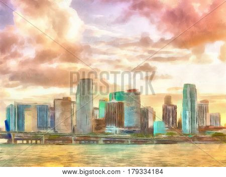 Digital watercolor painting of a sunset in downtown Miami Florida.